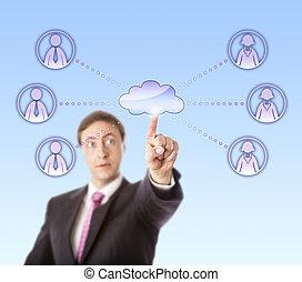travail, équipes, femme, homme affaires, mâle, contacter