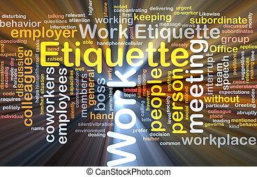 travail, étiquette, incandescent, concept, fond