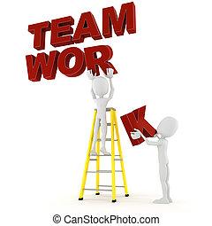 travail, 3d, homme, équipe