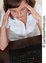 travail, affaires femme, mal tête