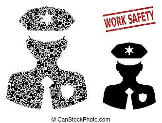 travail, agent police, mosaïque, cachet, icônes, sécurité, grunge