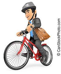 travail, aller, vélo, 3d, homme affaires