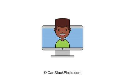 travail, américain, informatique, filet, afro, homme