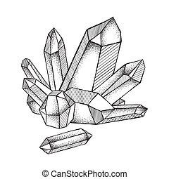 travail art, main, dessiné, cristaux, druse, ligne, point