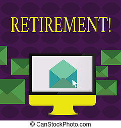travail, atteindre, texte, projection, ceasing, quelques-uns, signe, arrêt, age., métier, photo, conceptuel, partir, retirement., après