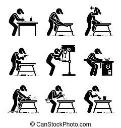 travail bois, charpentier, outils
