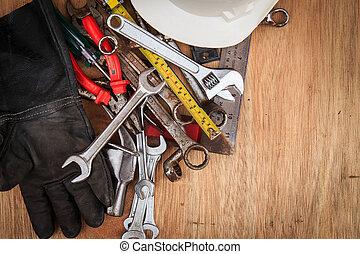 travail bois, closeup, outils, assorti