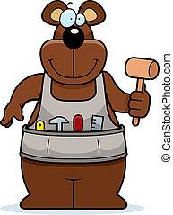 travail bois, dessin animé, ours