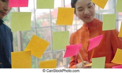 travail, business, projet, planche, gens, planification