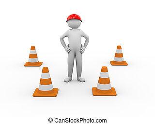 travail, cônes trafic, 3d