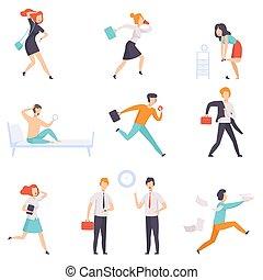 travail, caractères, gens, travail, businesspeople, illustration, tard, courant, vecteur, fond, blanc