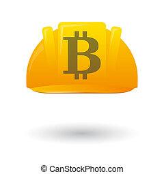travail, casque, esprit, bitcoin