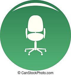 travail, chaise, vecteur, vert, icône