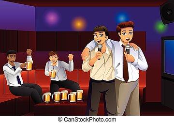 travail, chant, hommes affaires, après, karaoke