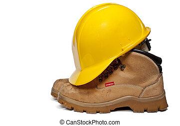 travail, chapeau dur, bottes
