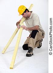 travail, charpentier, bois