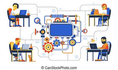 travail, complexe, équipe, projet, éloigné, développement