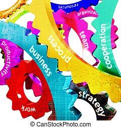 travail, concept, coloré, engrenage