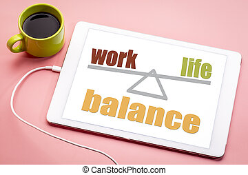travail, concept, vie, équilibre