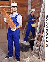 travail, constructeurs, deux, usure