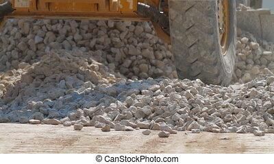 travail construction, route, excavateur, chargeur