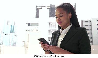 travail, conversation, femme, téléphone
