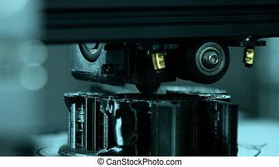 travail, dimensionnel, pendant, imprimante, trois, plastique