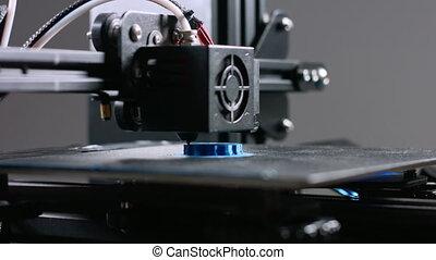 travail, dimensionnel, trois, pendant, imprimante, plastique