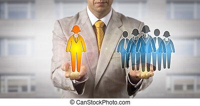 travail, directeur, présentation, femme, associez-vous guide