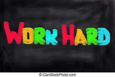 travail, dur, concept