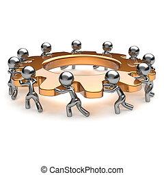 travail, engrenage, business, processus, association, unité, collaboration, équipe