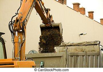 travail, excavateur