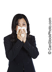 travail, femme, mûrir, malade, asiatique