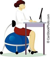 travail, fitball, femme, asseoir