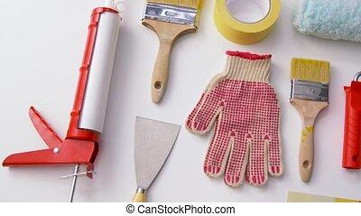 travail, fond, blanc, différent, peignant outils