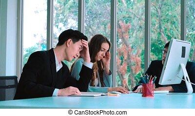 travail groupe, fâché, réunion, problème, personne, business, conflit
