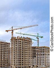 travail, grues, forest'., moscou, résidentiel, étape, bâtiments., nouveau, 'in, troisième, construction, murs, complexe, russie
