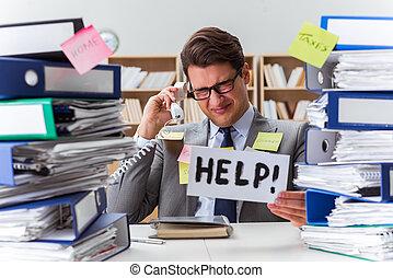 Travail, homme affaires, occupé, demander, aide
