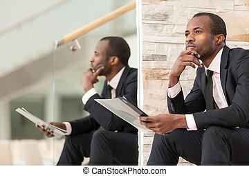 travail, homme affaires, papier