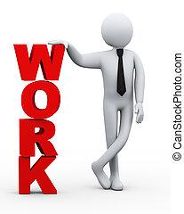 travail, homme affaires, présentation, mot, 3d