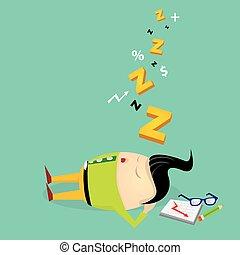 travail, homme affaires, tomber, sien, endormi