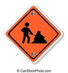 travail, hommes, trafic, icône, signe