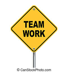 travail, illustration, roadsign, jaune, équipe, 3d