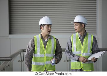 travail, industriel, engineer's, deux, asiatique