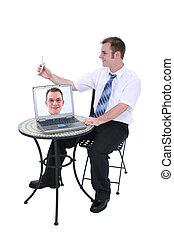 travail, informatique, homme
