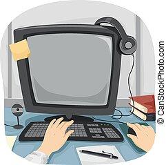 travail, informatique, mains