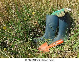 travail jardin, /, caoutchouc charge, herbe