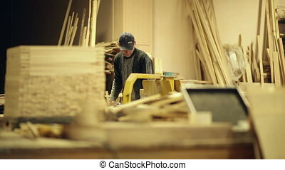 travail, jeune, charpentier