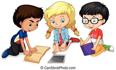 travail, lecture, enfants