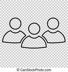 travail, ligne, vecteur, équipe, icône